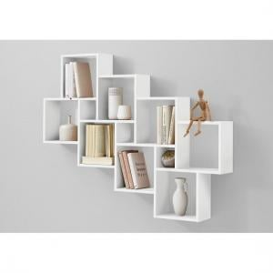 Rutland Wooden Large Wall Mounted Shelving Unit In White