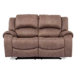 Ryan Recliner Textured Fabric Two Seater Sofa In Biscuit