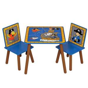 Rylee Pirate Table And Chairs In Blue And Brown