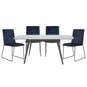 Sabina Extending Cappuccino Dining Table 4 Soren Blue Chairs
