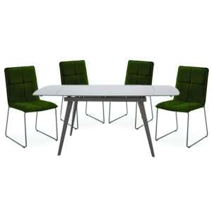 Sabina Extending Cappuccino Dining Table 4 Soren Green Chairs