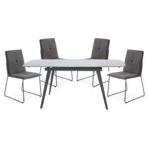Sabina Extending Cappuccino Dining Table 4 Soren Grey Chairs