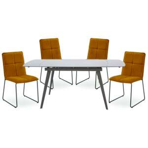 Sabina Extending Cappuccino Dining Table 4 Soren Mustard Chairs