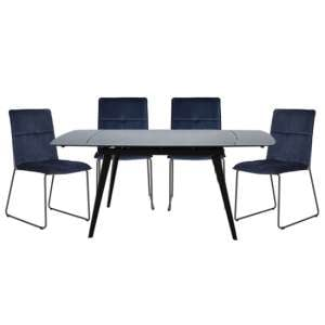 Sabina Extending Grey Dining Table With 4 Soren Blue Chairs