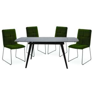 Sabina Extending Grey Dining Table With 4 Soren Green Chairs