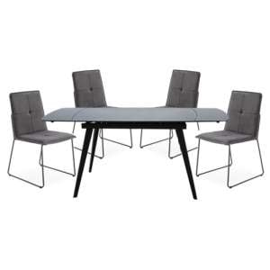 Sabina Extending Grey Dining Table With 4 Soren Grey Chairs