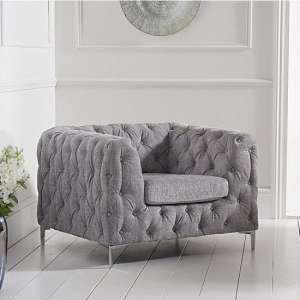 Sabine Velvet Armchair In Plush Grey With Metal Legs