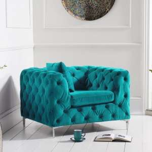 Sabine Velvet Armchair In Plush Teal With Metal Legs
