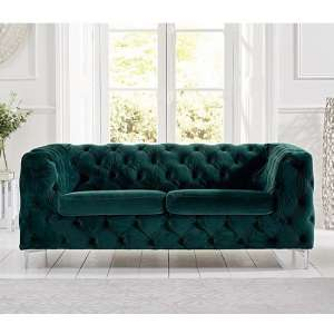 Sabine Velvet Two Seater Sofa In Teal Green With Metal Legs
