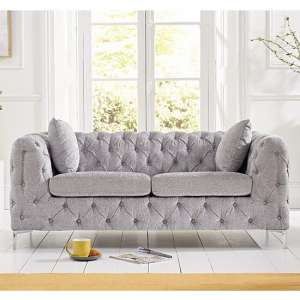 Sabine Velvet Two Seater Plush Sofa In Grey With Metal Legs