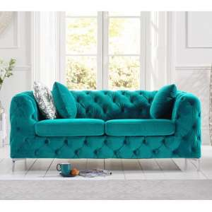 Sabine Velvet Two Seater Sofa In Teal Grey With Metal Legs