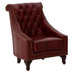 Sadalmelik Faux Leather Armchair In Red With Walnut Feets