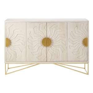 Nekkar Wooden Sideboard In White With 4 Doors