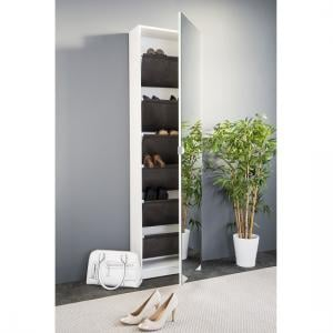 Safari Shoe Storage Cabinet In White With Mirror Front_4