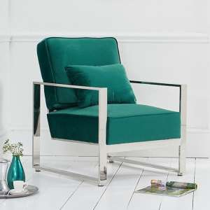 Saffiyas Velvet Upholstered Accent Chair In Green