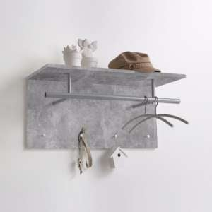 Saffron Wall Mounted Coat Rack In Concrete With 4 Hooks