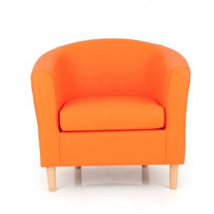 Salcombe Upholstered Faux Leather Orange Tub Chair