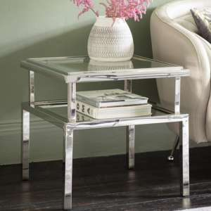 Salerno Glass Side Table In Silver