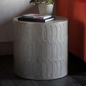 Salisbury Round Wooden Side Table In Grey