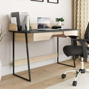 Salisbury Wooden Computer Desk In Oak And Black