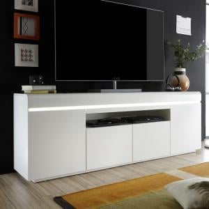 Sally Contemporary TV Stand In Matt White With 4 Doors And LED