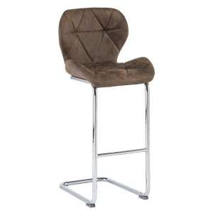 Samoa Cantilever Bar Stool In Brown Fabric With Chrome Frame