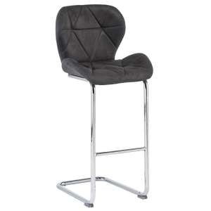 Samoa Cantilever Bar Stool In Grey Fabric With Chrome Frame