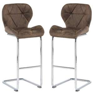 Samoa Cantilever Brown Fabric Bar Stools In Pair