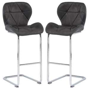 Samoa Cantilever Grey Fabric Bar Stools In Pair