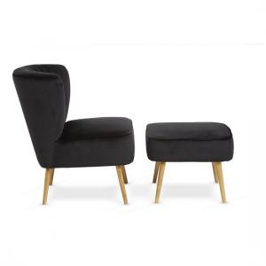 Samova Fabric Bedroom Chair And Foot Stool In Black Velvet