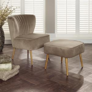 Samova Fabric Bedroom Chair And Foot Stool In Mink Velvet