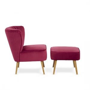 Samova Fabric Bedroom Chair And Foot Stool In Ruby Velvet
