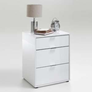 Sander Modern Bedside Cabinet In White High Gloss With 3 Drawers