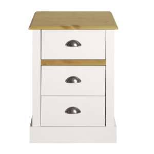 Sandringham Wooden Bedside Cabinet In White And Pine