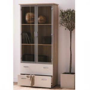 Sanford Glass Display Cabinet In Brushed Oak And Pearl White