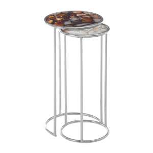 Sansuna Agate Stone Top Nesting Of 2 Tables With Silver Frame