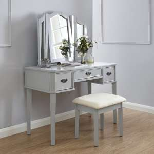 Santana Contemporary Dressing Table Set In Grey