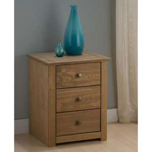 Santiago Bedside Cabinet In Distressed Pine With 3 Drawers