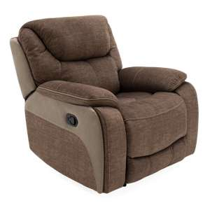 Santiago Fabric Upholstered Recliner 1 Seater Sofa In Brown