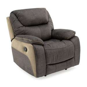 Santiago Fabric Upholstered Recliner 1 Seater Sofa In Grey