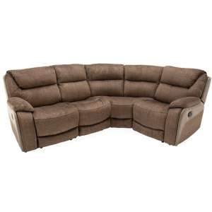 Santiago Fabric Upholstered Recliner Corner Sofa In Brown