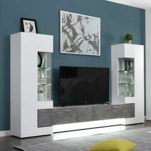 Santiago Entertainment Unit In White Gloss And Concrete Effect