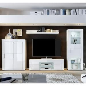 Santino Living Room Set In White High Gloss With LED