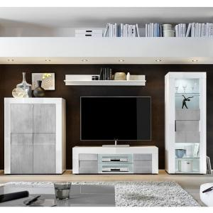 Santino Living Room Set In White High Gloss And Grey With LED