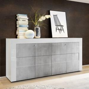 Santino Sideboard In White High Gloss And Grey With 4 Doors
