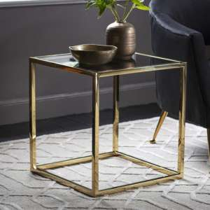Santorini Glass Side Table In Gold