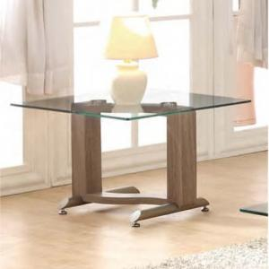 Manta Clear Glass Lamp Table With Walnut Base