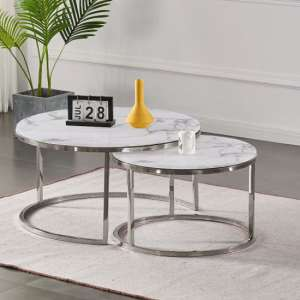 Sara Set Of 2 Marble Coffee Tables In White With Silver Base
