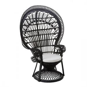 Sara Lounge Or Bedroom Chair In Rattan Black Peacock Design