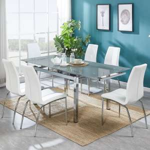 Sarah Extendable Grey Glass Dining Table And 6 Opal White Chairs